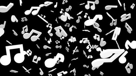 White musical notes on black background. 3D rendering abstract illustration.