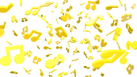 Yellow musical notes on white background. 3D rendering abstract illustration.