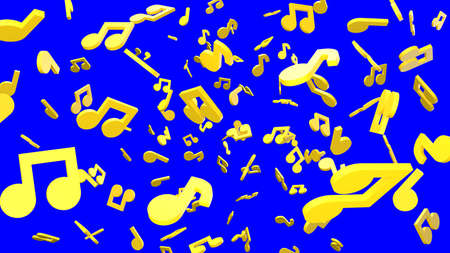 Yellow musical notes on blue chroma key background. 3D rendering abstract illustration.