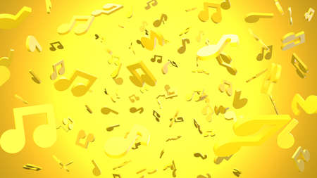 Yellow musical notes on yellow background. 3D rendering abstract illustration.