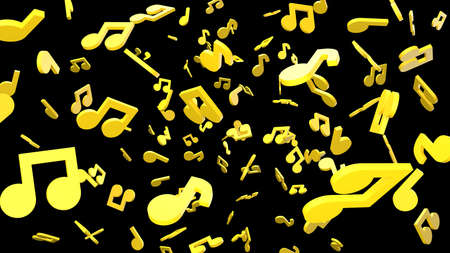 Yellow musical notes on black background. 3D rendering abstract illustration.