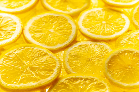 Sliced lemons. for background.Top view. Archivio Fotografico