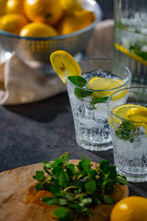 lemon,mint and sparkling water image. Cold refreshing lemonade.