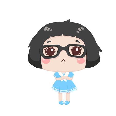 Cute cartoon girl feeling upset