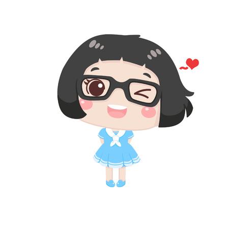 Cute cartoon girl with heart