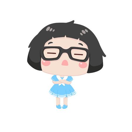 Cute cartoon girl feeling unhappy