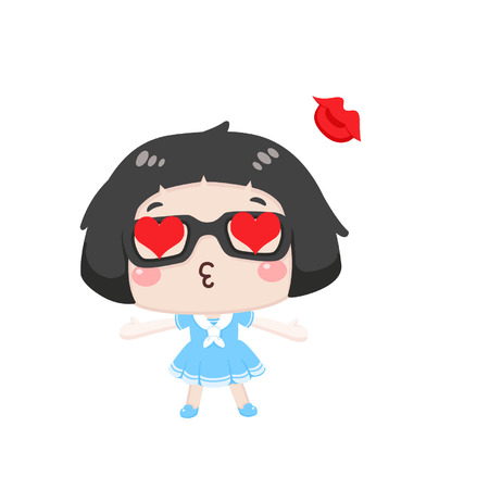 Cute cartoon girl in love 向量圖像