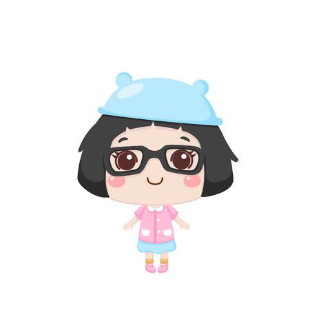 Cute cartoon girl standing
