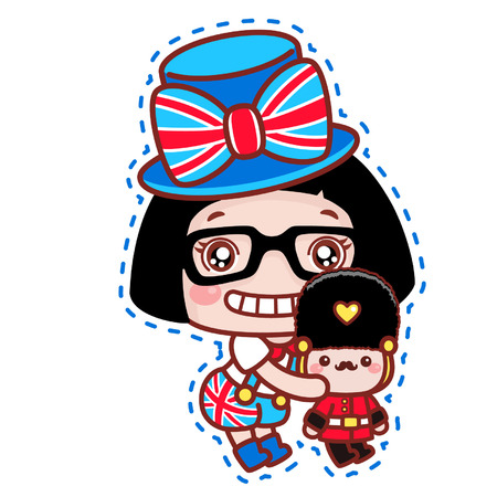 Cute cartoon girl with British royal guard toy Illustration