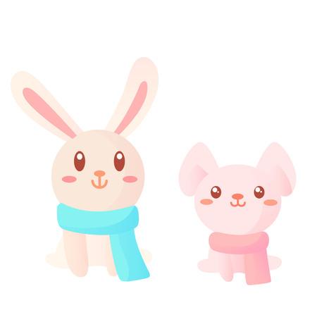 Two cute cartoon rabbits