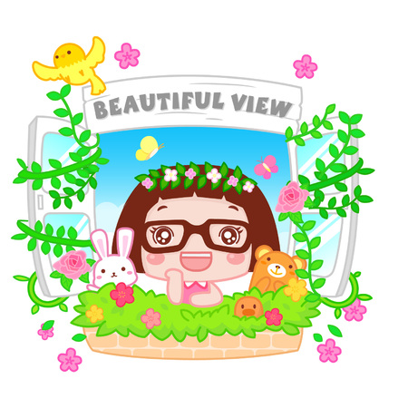 Cute cartoon girl at a window