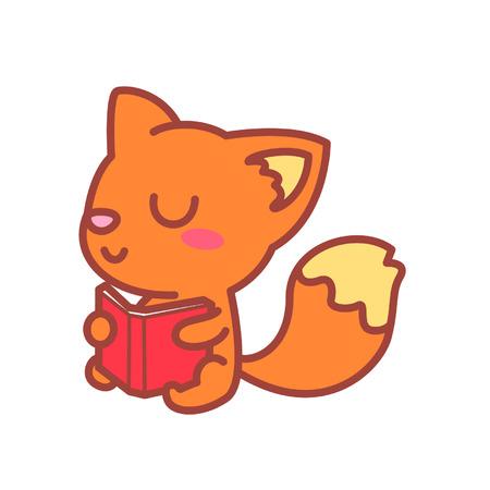 Cartoon fox character reading