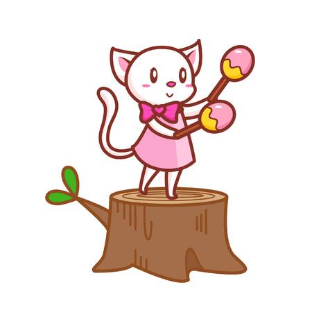 Cartoon Katze mit Maracas