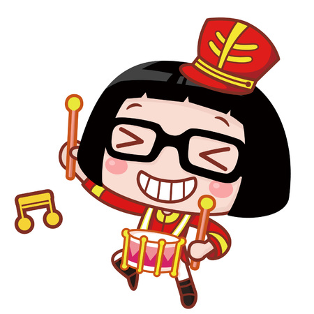 Cute cartoon girl playing the drum