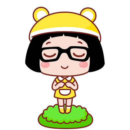 Cute cartoon girl in yellow dress Illustration