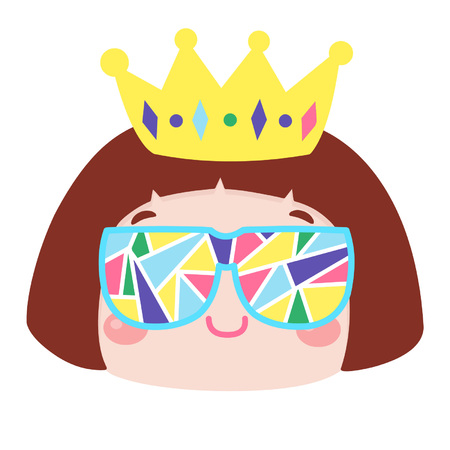 Cute cartoon girl with fancy sunglasses and crown Illustration