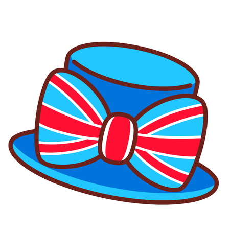 Cartoon British hat with a bow