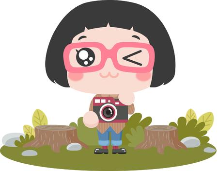 Cute cartoon girl as an explorer