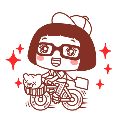 Cute cartoon girl riding a bicycle