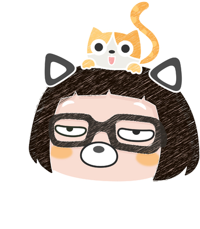 Unamused cartoon girl with a cat