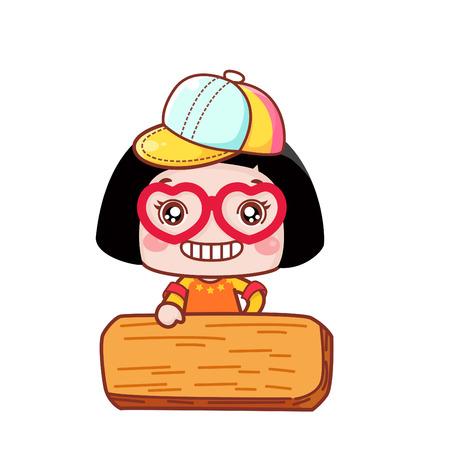 Cute cartoon girl with a wooden plank Ilustração