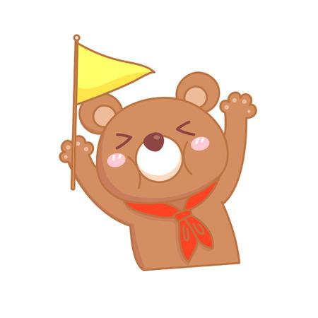Cartoon bear holding up a flag Illustration