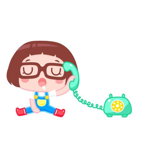 Sleepy cartoon girl answering the phone