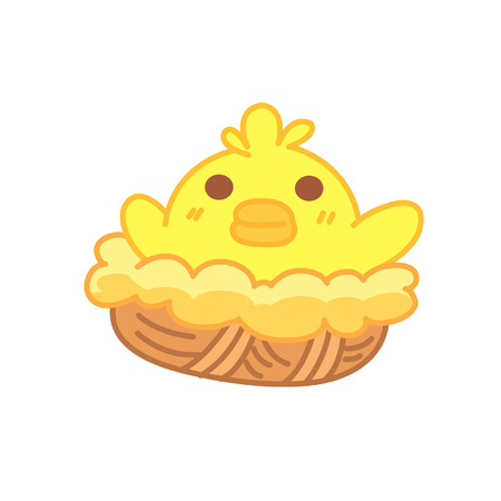 Cartoon chick in a nest