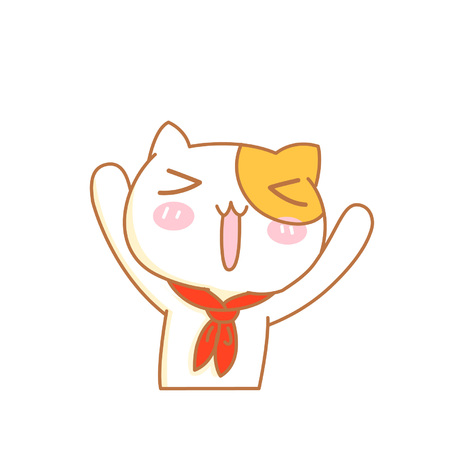 Cute cartoon cat character with hands up Ilustrace