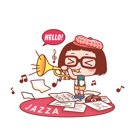 Cute cartoon girl playing the saxophone