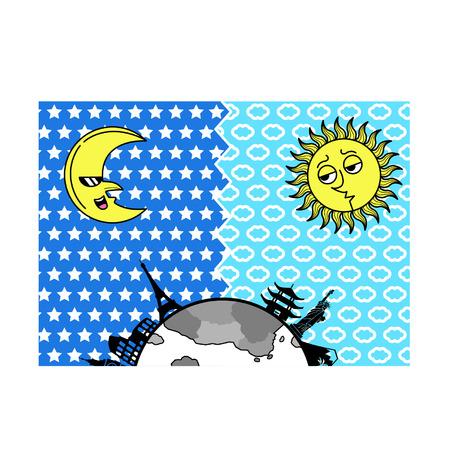 Cartoon moon and sun background Иллюстрация