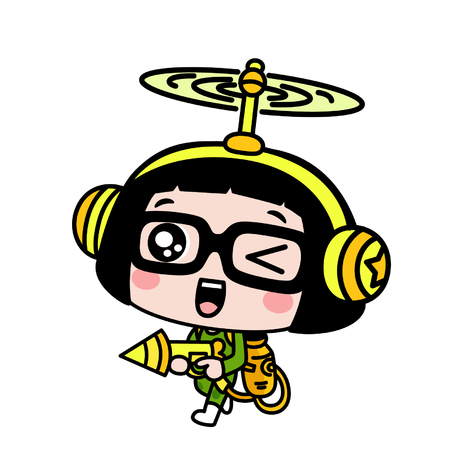Cute cartoon girl in green and yellow costume