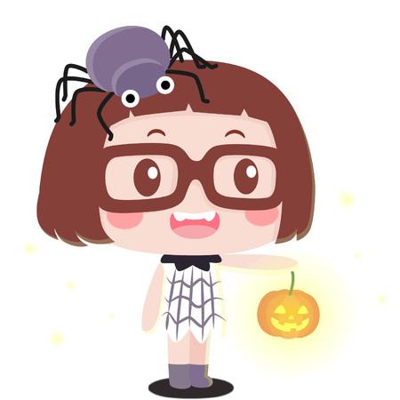 Cute cartoon girl in halloween costume Illustration