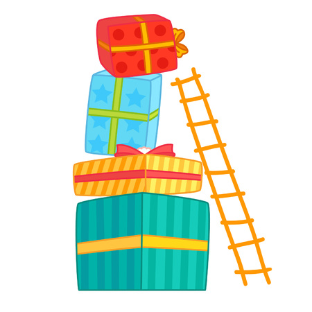 Cartoon ladder on a stack of presents Illustration