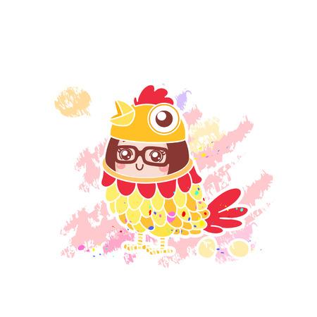 Cute cartoon girl in chicken costume  イラスト・ベクター素材