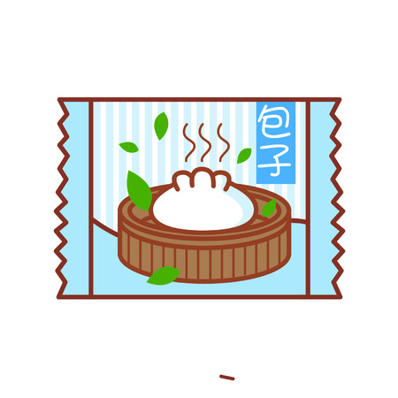 Cartoon steamed bun in a packet