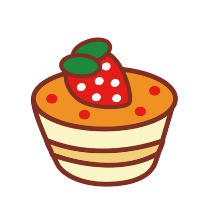Cartoon strawberry creme caramel Illustration