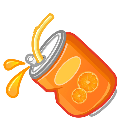 Cartoon orange can juice