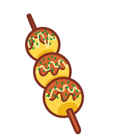 Cartoon takoyaki sticks