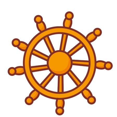 Cartoon ship steering wheel