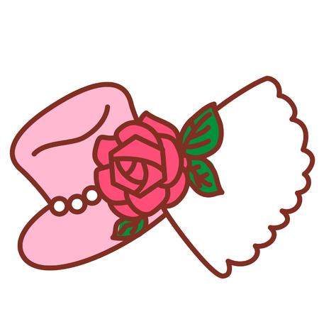 Cartoon hat with rose 矢量图像
