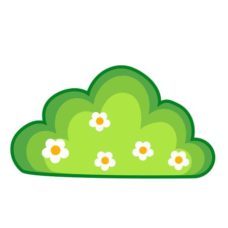 Cartoon bush with flowers Stock Illustratie