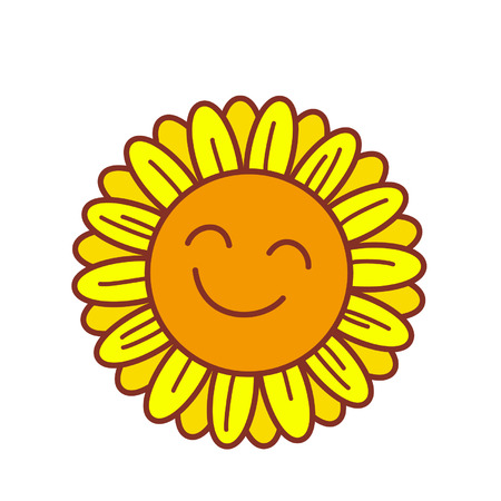 Cartoon sunflower with smiley face Çizim