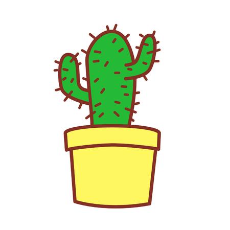 Cartoon potted cactus