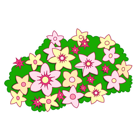 Cartoon bush with flowers Stock Illustratie