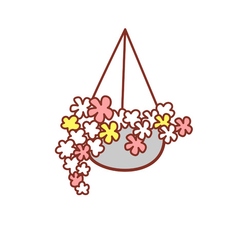 Cartoon hanging basket with flowers Stock Illustratie