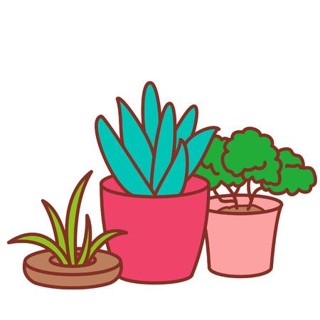 Cartoon potted plants