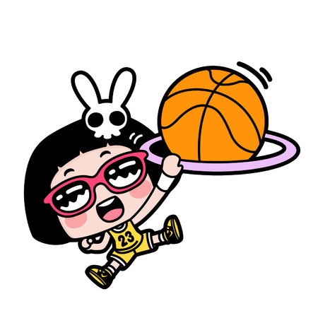 Cartoon girl playing basketball