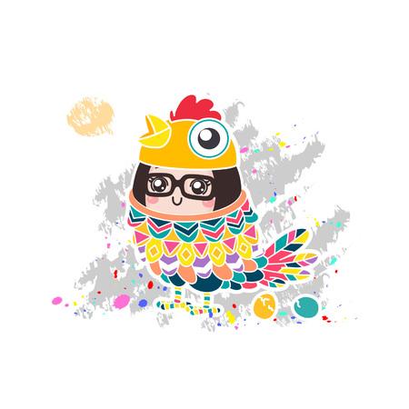 Cartoon cute girl in chicken costume