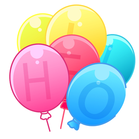 Colorful balloons with alphabets Çizim